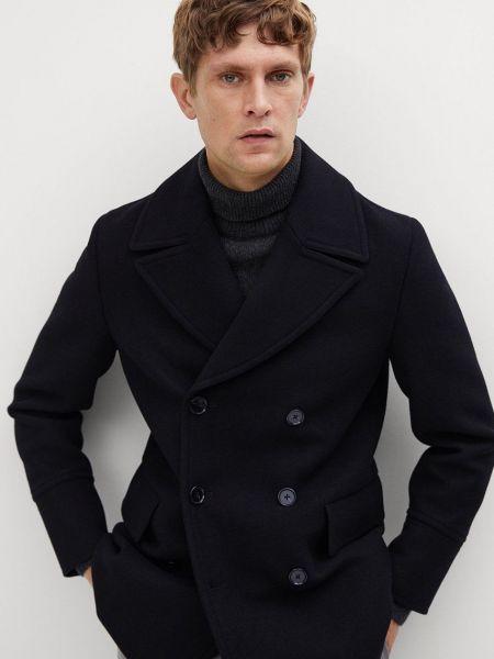 Шерстяное пальто классическое двубортное с карманами Mango Man