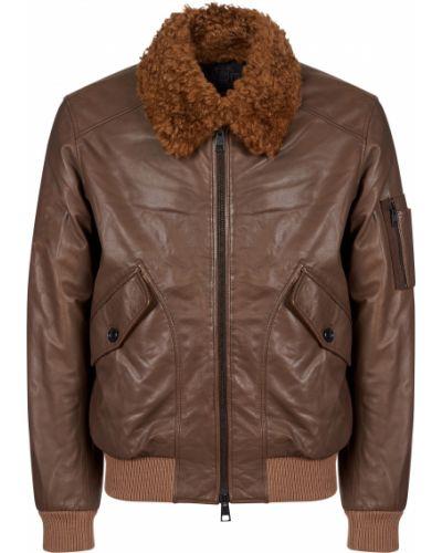 Кожаная куртка из полиэстера - коричневая Gallotti