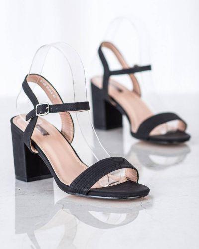Czarne sandały na słupku eleganckie Nio Nio
