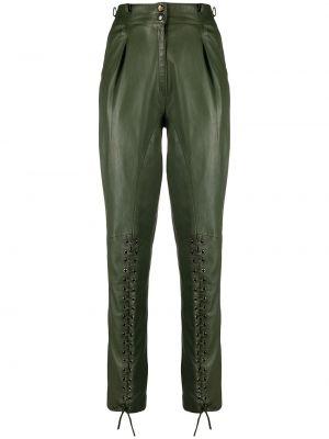 Zielone spodnie z wysokim stanem skorzane Christian Dior