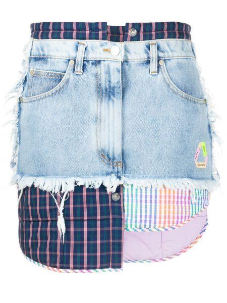 Кожаная юбка джинсовая на пуговицах Natasha Zinko