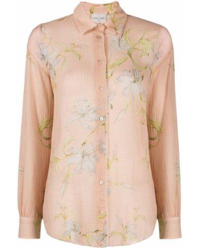 Розовая шелковая классическая рубашка с длинными рукавами Forte Forte