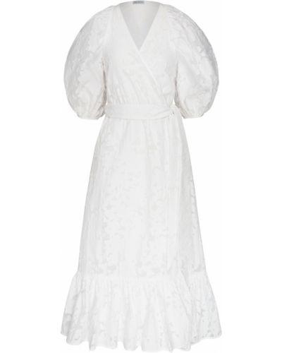 Шелковое белое платье миди с поясом ли-лу