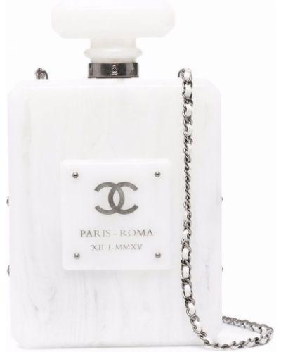 Kopertówka srebrna - biała Chanel Pre-owned