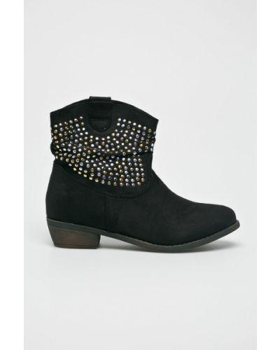 Черные сапоги текстильные Corina