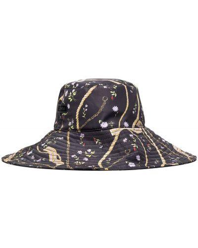Czarny kapelusz z printem Ganni