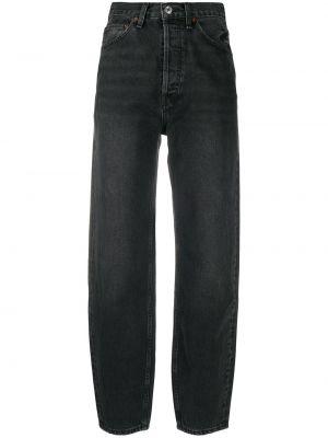Bawełna czarny jeansy o prostym kroju zabytkowe z łatami Re/done
