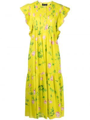 Хлопковое платье миди - желтое Cynthia Rowley