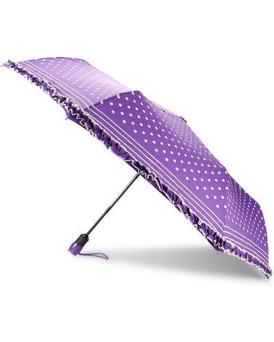 Fioletowy automatyczny parasol w grochy z printem Boutique Moschino