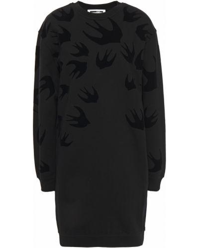 Хлопковое черное платье мини с карманами Mcq Alexander Mcqueen