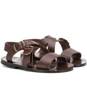 Кожаные открытые коричневые сандалии с открытым носком Pépé Kids