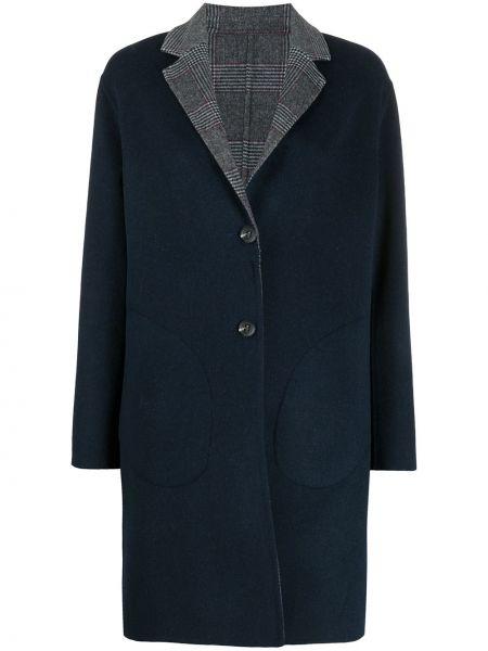 Синее шерстяное длинное пальто на пуговицах Tommy Hilfiger