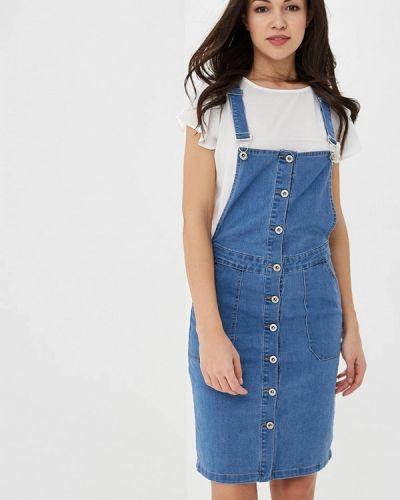 Джинсовое платье весеннее синее Regular
