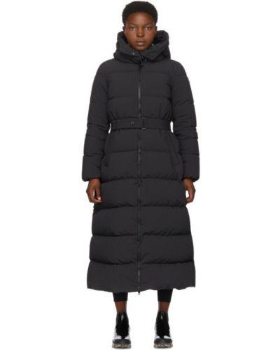 Пуховое черное длинное пальто с капюшоном Moncler