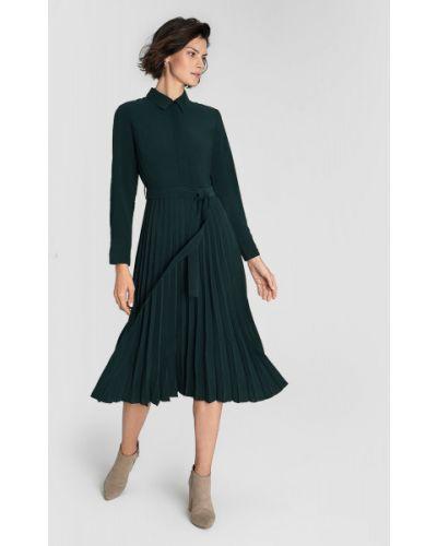 Зеленое плиссированное платье миди с воротником из вискозы Ostin