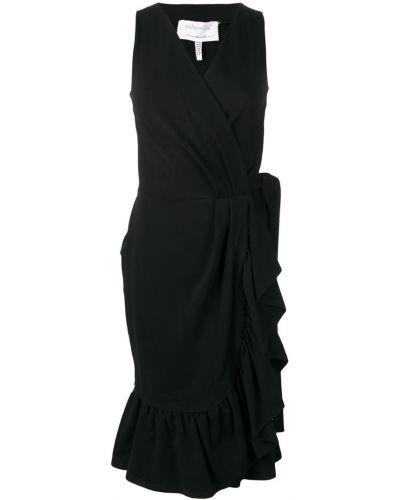 Черное платье миди с запахом на молнии Milla Milla