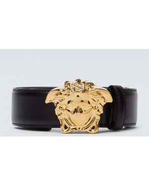 Черный кожаный ремень с пряжкой Versace