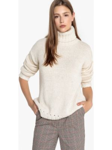 С рукавами бежевый акриловый пуловер с воротником Sud Express