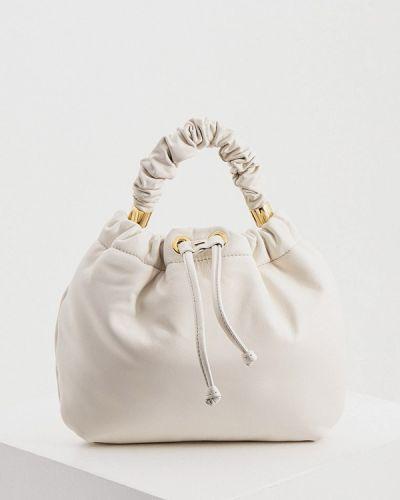 Белая сумка с ручками из натуральной кожи Hogl