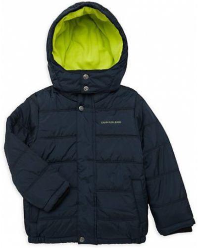 Zielona długa kurtka z kapturem z długimi rękawami Calvin Klein