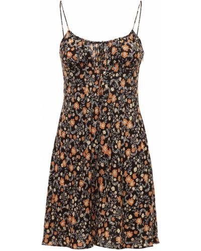 Czarna sukienka mini z jedwabiu z printem Bec & Bridge