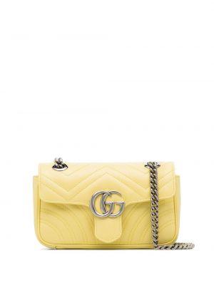 Z paskiem żółty torebka na łańcuszku z prawdziwej skóry Gucci