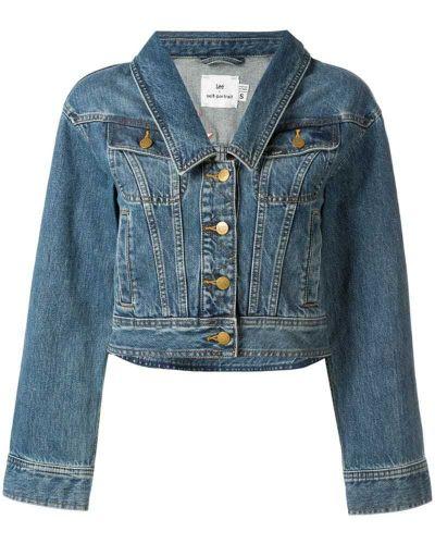 Синяя джинсовая куртка с манжетами на пуговицах Self-portrait