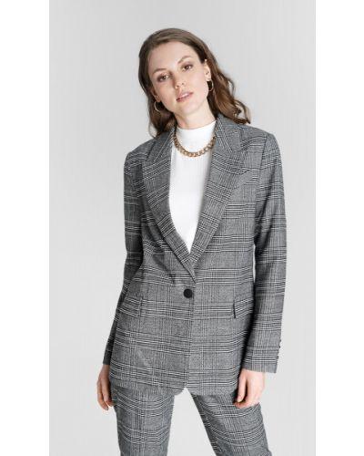Прямой с рукавами серый пиджак с воротником Ostin