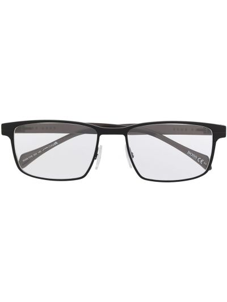 Czarna oprawka do okularów z printem Boss