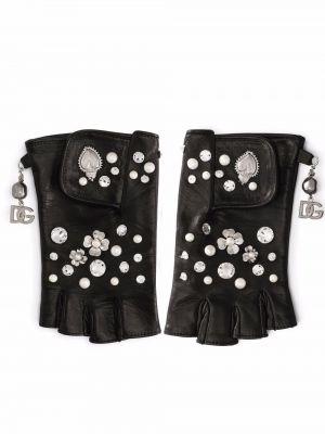 Czarne rękawiczki bez palców Dolce And Gabbana