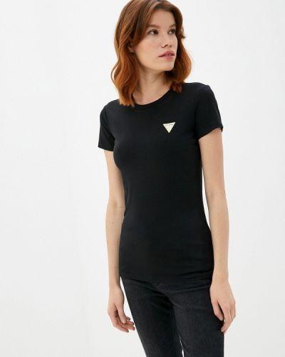 С рукавами черная футболка Guess Jeans