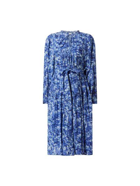 Niebieska sukienka midi rozkloszowana z długimi rękawami Freebird