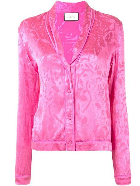 Прямая розовая блузка с длинным рукавом на пуговицах из вискозы Alexis