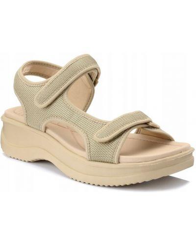Beżowe sandały na platformie na rzepy Azaleia