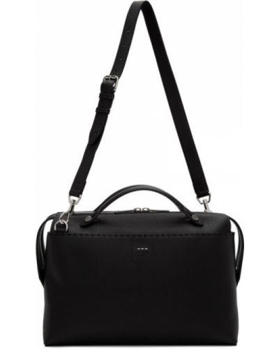 Черный кожаный портфель с карманами Fendi
