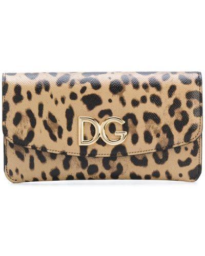 Кожаный кошелек леопардовый с логотипом Dolce & Gabbana