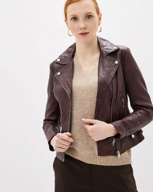 Кожаная куртка осенняя бордовый La Reine Blanche
