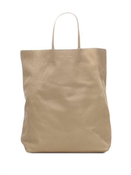 Кожаная серая сумка-тоут на молнии с карманами Céline Pre-owned