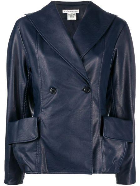 Облегающая синяя куртка на пуговицах с карманами Stefano Mortari