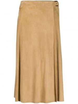 Бежевая расклешенная с завышенной талией юбка миди с пряжкой Ralph Lauren