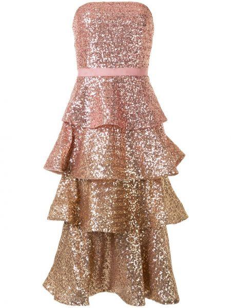 Розовое платье без бретелек Marchesa Notte