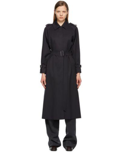 Шерстяное черное длинное пальто с поясом Max Mara