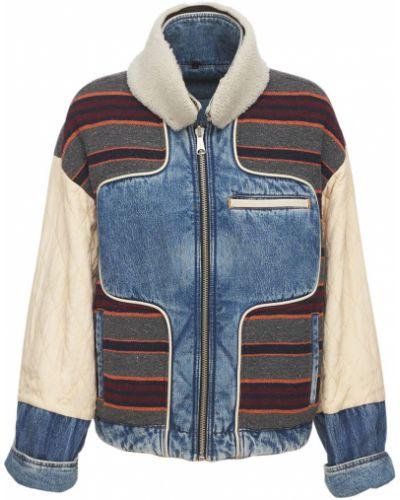Кожаная куртка - синяя Diesel