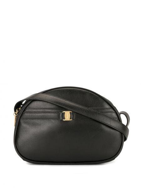 Золотистая черная сумка через плечо с пряжкой на молнии Salvatore Ferragamo Pre-owned
