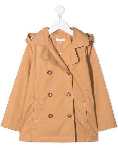 Klasyczny brązowy płaszcz bawełniany Chloé Kids