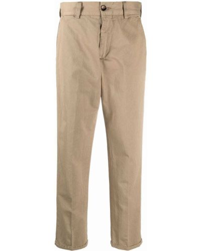 Хлопковые прямые бежевые укороченные брюки Pt01