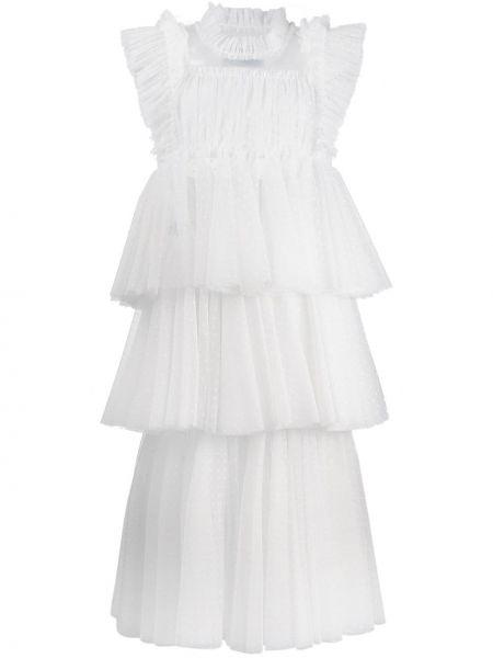 Белое платье миди из фатина с вырезом с короткими рукавами Viktor & Rolf