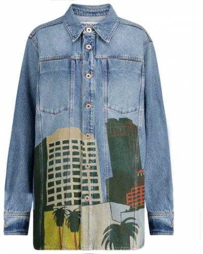 Хлопковая ватная синяя джинсовая куртка Loewe