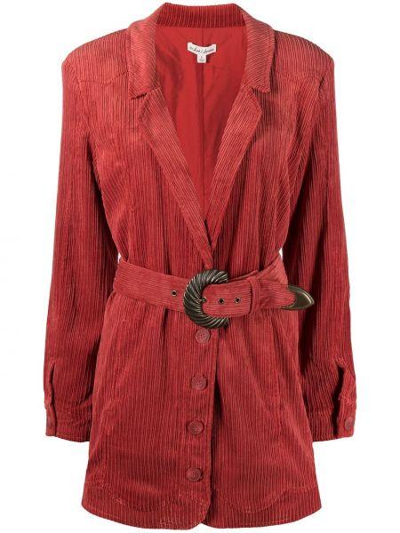Прямое красное пальто классическое на пуговицах For Love & Lemons