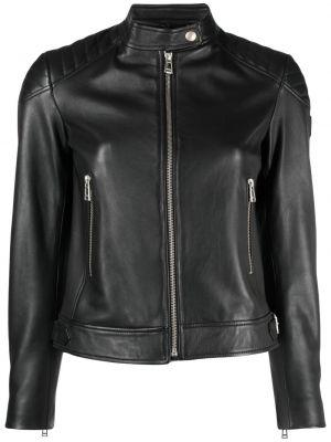 Черная кожаная куртка на молнии Belstaff